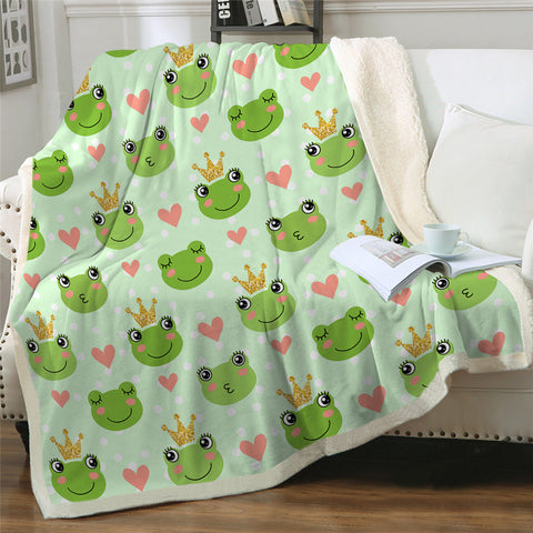Image of Crowned Frog Patterns Sherpa Fleece Blanket