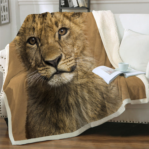 Image of Lion Cub Sherpa Fleece Blanket