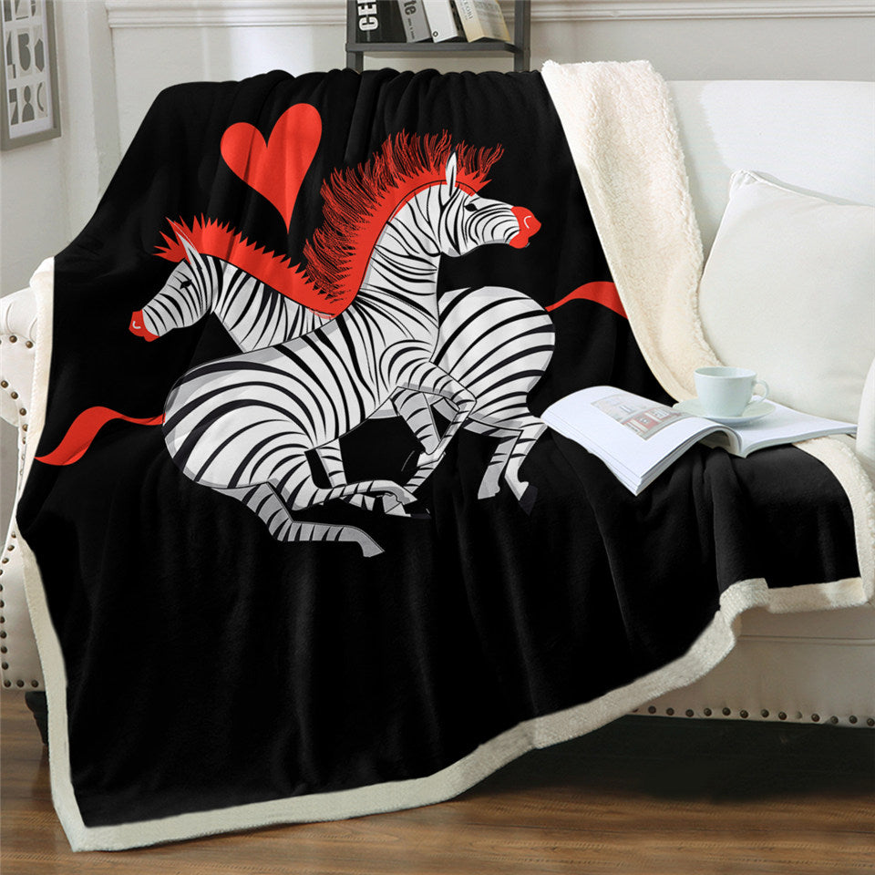 Love Zebras Sherpa Fleece Blanket