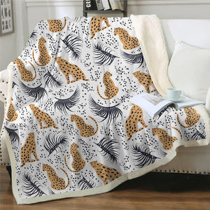 Cheetah Motif Sherpa Fleece Blanket