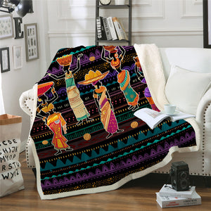 African Women Sherpa Fleece Blanket - Beddingify