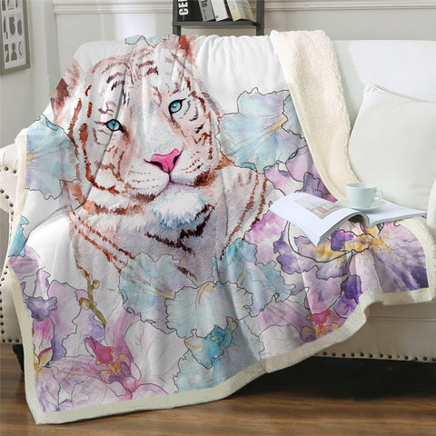 Adorable Tiger Sherpa Fleece Blanket