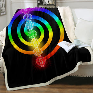 7 Chakra Themed Sherpa Fleece Blanket