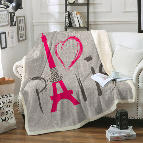 Love Paris Sherpa Fleece Blanket - Beddingify