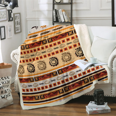 African Stripe Sherpa Fleece Blanket - Beddingify