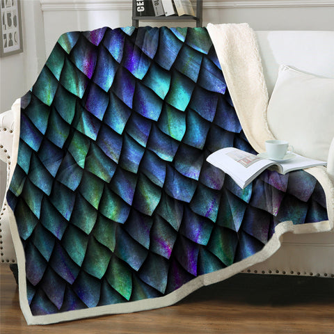 Image of 3D Dragon Scale Patterns Sherpa Fleece Blanket