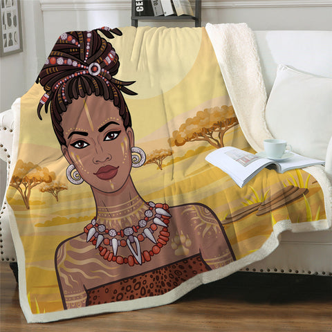 African Lady Sherpa Fleece Blanket