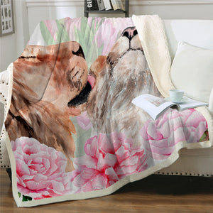 A Couple Of Lions Sherpa Fleece Blanket