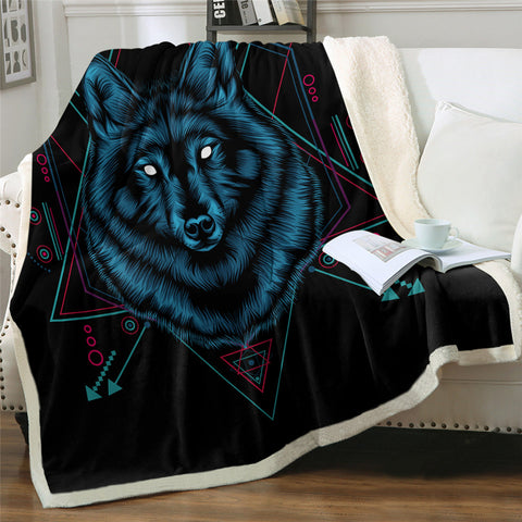 Image of Feral Wolf Sherpa Fleece Blanket
