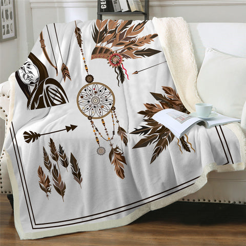 Native American Icons Sherpa Fleece Blanket