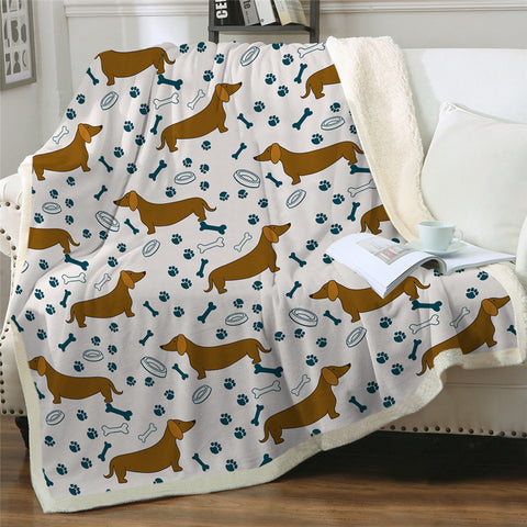 Image of Brown Dachshund Themed Sherpa Fleece Blanket