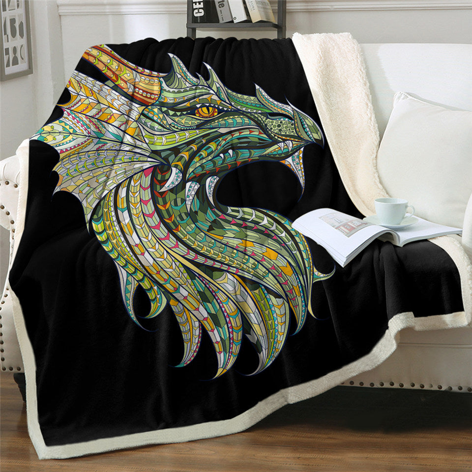 Wyvern Black Sherpa Fleece Blanket