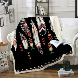 Native Feather Sherpa Fleece Blanket - Beddingify