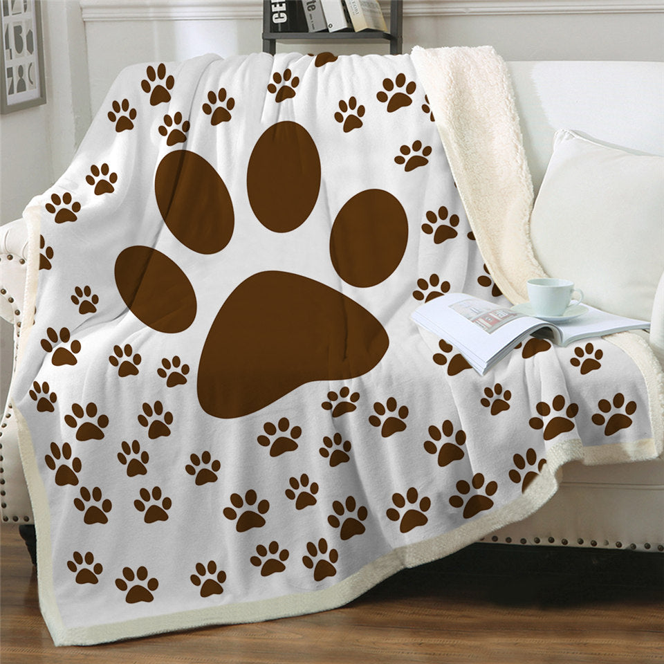 Paw Patterns Sherpa Fleece Blanket
