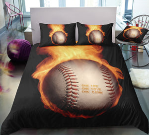 Black Flame Baseball Bedding Set - Beddingify