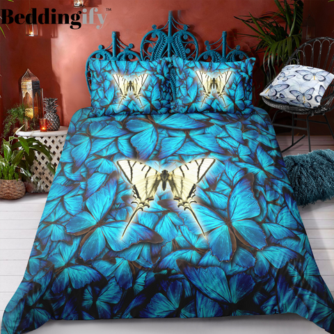 Image of Deep Blue Butterflies Bedding Set - Beddingify