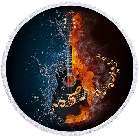 Image of Contrast Black Rock Guitar Round Beach Towel Set - Beddingify