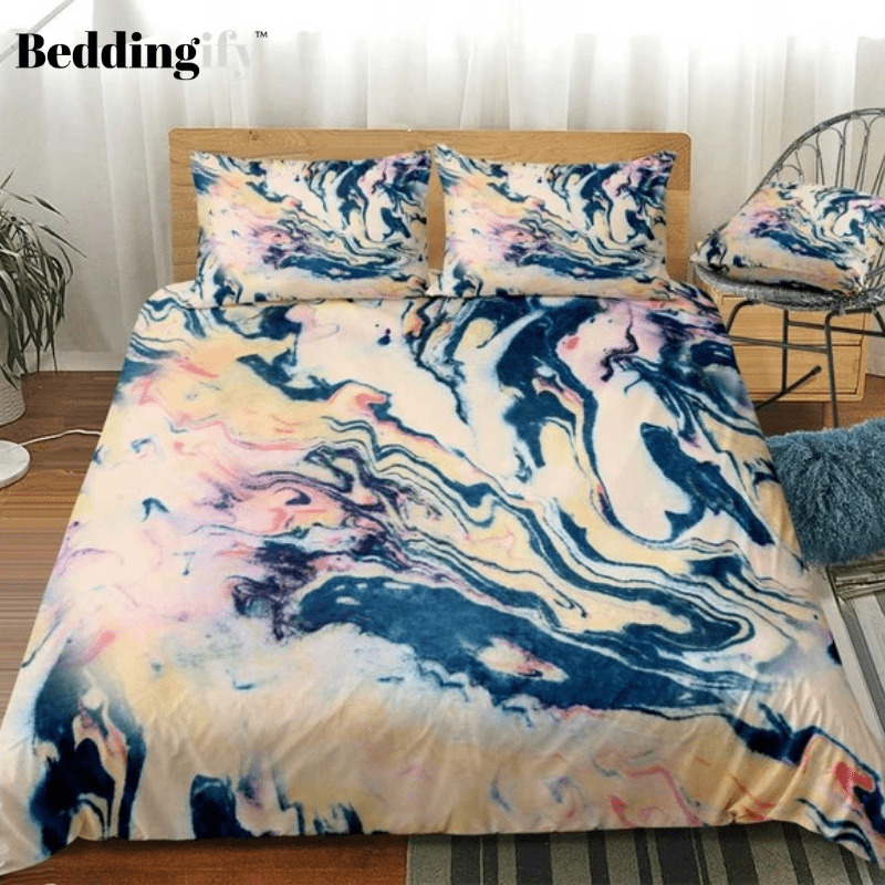 Marble Red Black Abstract Art Bedding Set - Beddingify