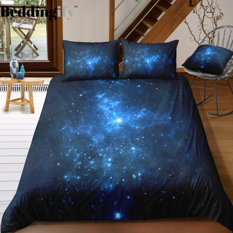 Image of Blue Galaxy Bedding Set - Beddingify