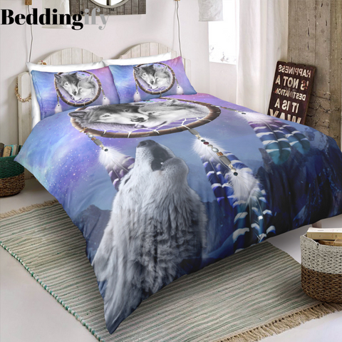 Image of Wolf Howling Dreamcatcher Bedding Set - Beddingify
