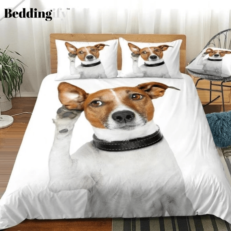 3D White Dog Listening with Big Ear Bedding Set - Beddingify