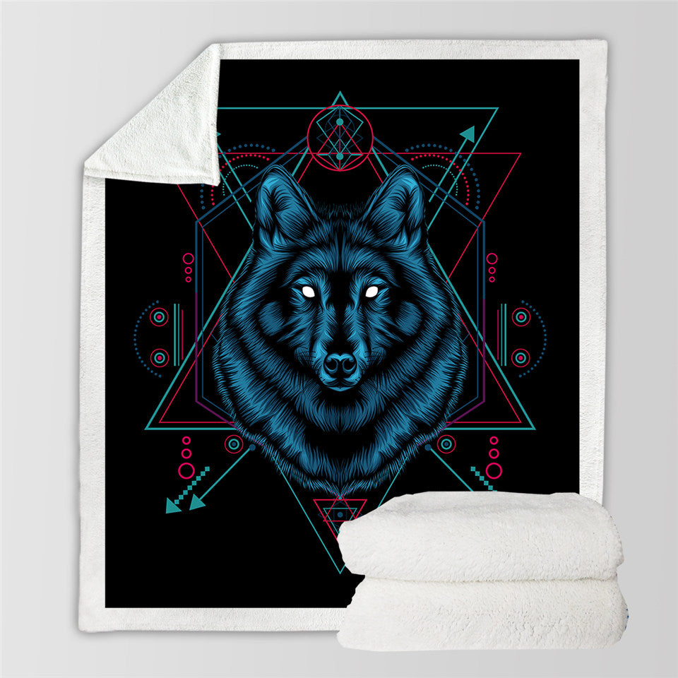 Feral Wolf Sherpa Fleece Blanket