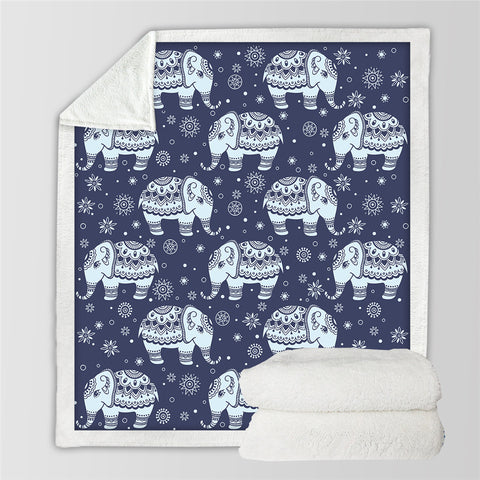 Cute Elephant Sherpa Fleece Blanket
