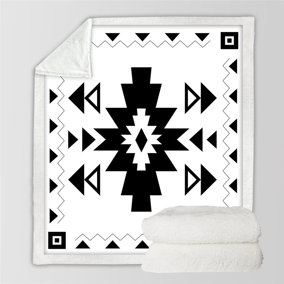 Simple Aztec Designs Sherpa Fleece Blanket