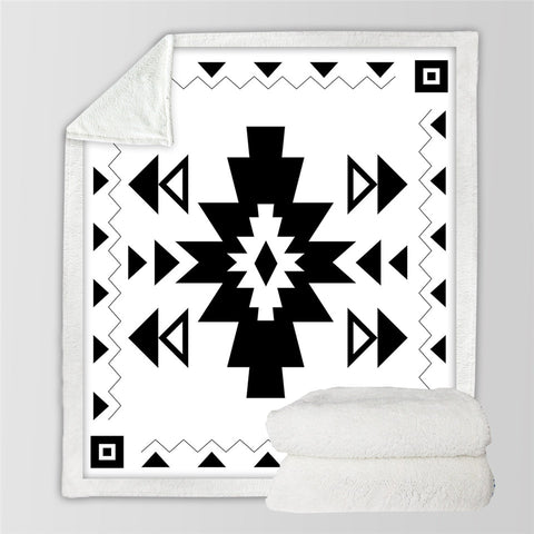Image of Simple Aztec Designs Sherpa Fleece Blanket