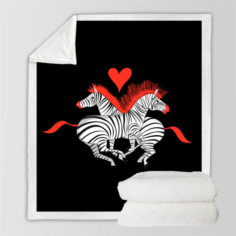 Image of Love Zebras Sherpa Fleece Blanket