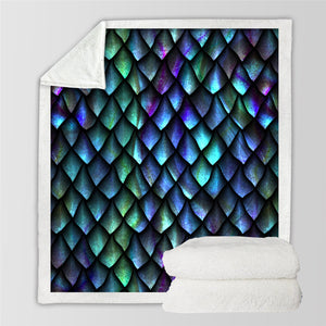 3D Dragon Scale Patterns Sherpa Fleece Blanket