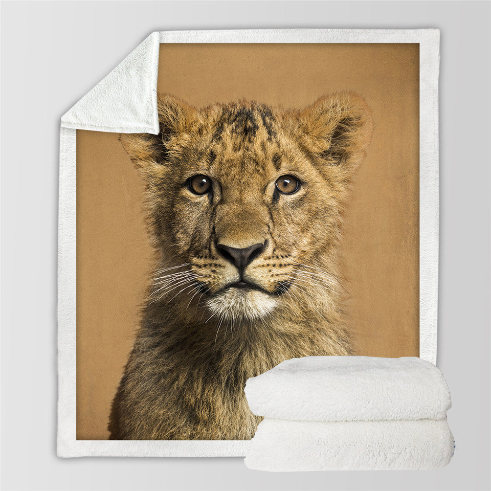 Lion Cub Sherpa Fleece Blanket