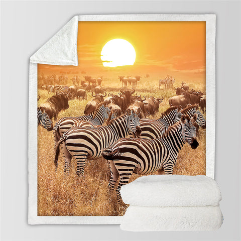 Image of African Animals Sunset Sherpa Fleece Blanket