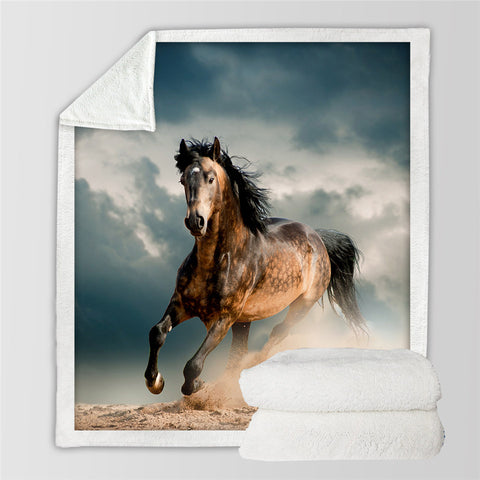 Image of 3D Galloping Horse Sherpa Fleece Blanket