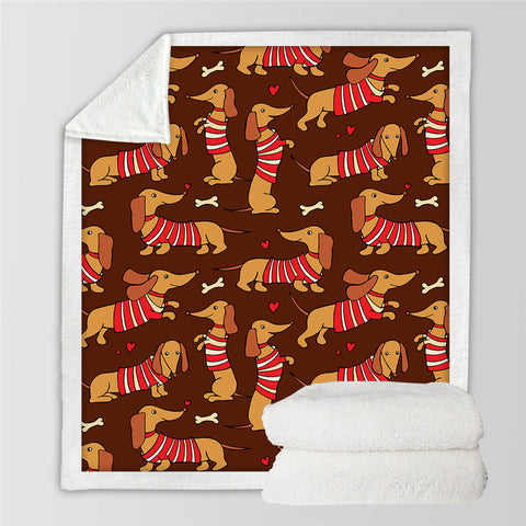 Adorable Dachshund SWMT2527 Sherpa Fleece Blanket