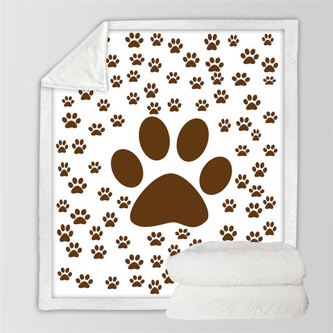 Image of Paw Patterns Sherpa Fleece Blanket