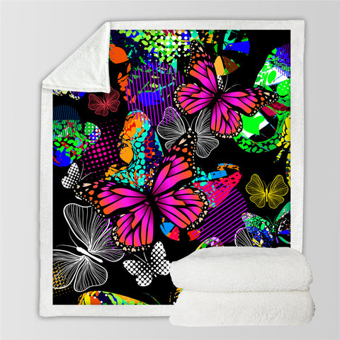 3D Butterflies Themed Sherpa Fleece Blanket