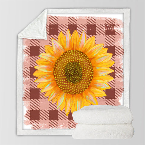 Image of Sunflower On Tablecloth Sherpa Fleece Blanket