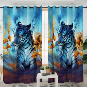 Blue Flame Tiger 2 Panel Curtains