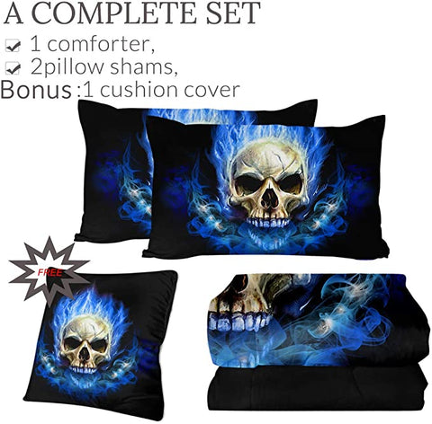 4 Pieces Blue Flaming Skull Comforter Set - Beddingify