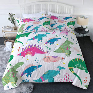 4 Pieces Cute Tribal Dinosaurs Comforter Set - Beddingify