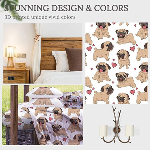 4 Pieces Lovely Pug Comforter Set - Beddingify