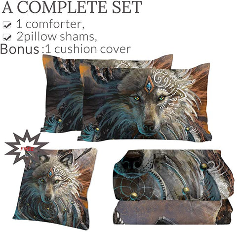 4 Pieces Warchief Wolf Comforter Set - Beddingify