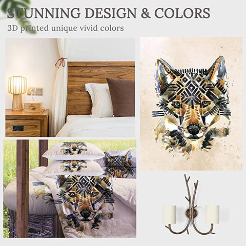 4 Pieces Painted Tribal Wolf Comforter Set - Beddingify