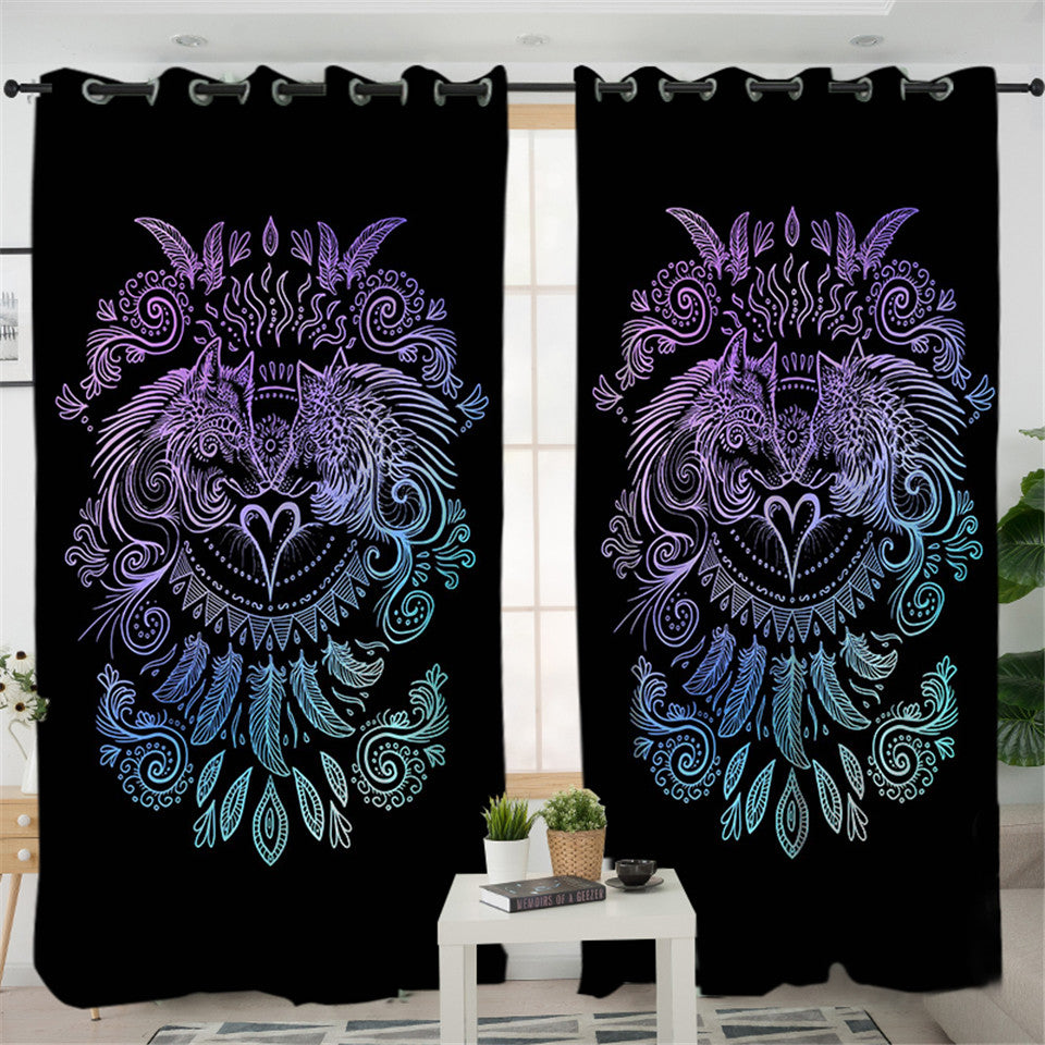 Duo Wolves Black 2 Panel Curtains