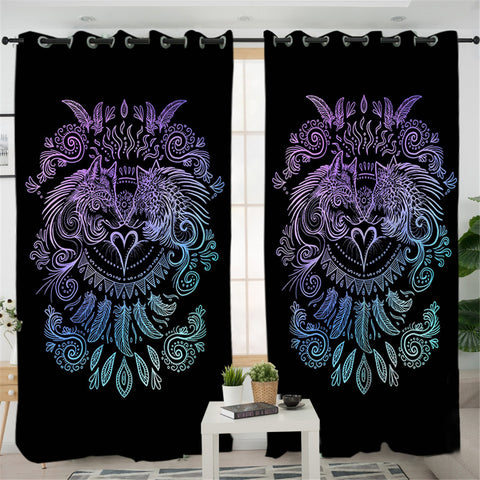 Image of Duo Wolves Black 2 Panel Curtains