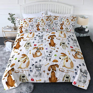 4 Pieces Cute Dogs Paw Pattern Comforter Set - Beddingify