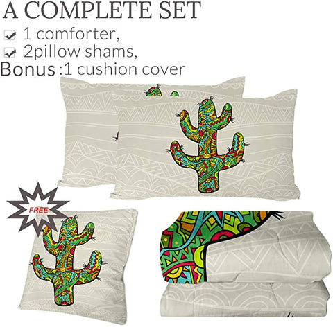 4 Pieces Pattened Cactus Comforter Set - Beddingify