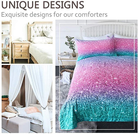 4 Pieces Glitter Color Transition Comforter Set - Beddingify
