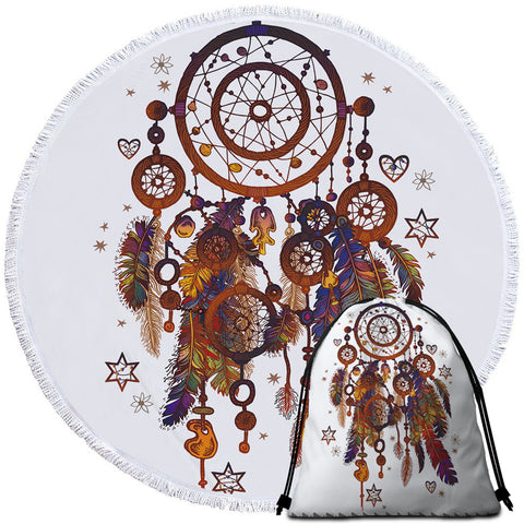 Image of Atomic Dreamcatcher Round Beach Towel Set - Beddingify